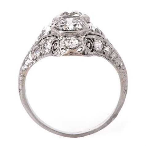 antique deco platinum filigree engagement ring
