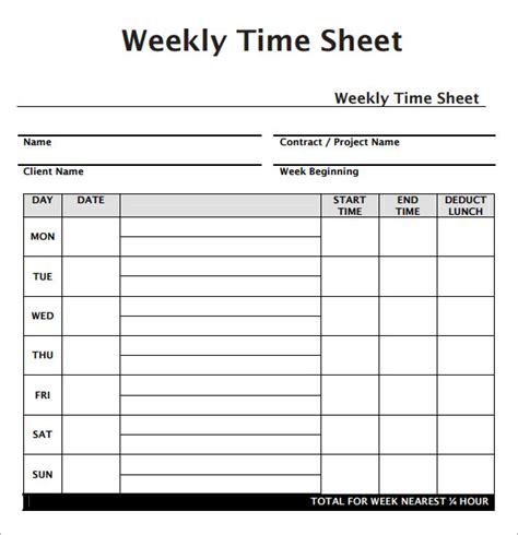 weekly timesheet template weekly timesheet template 7 free for pdf