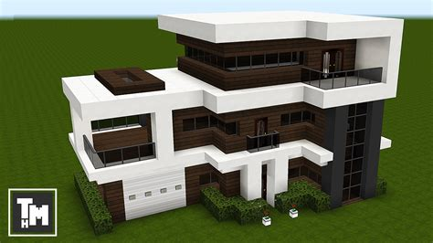minecraft how to build a modern house mansion tutorial