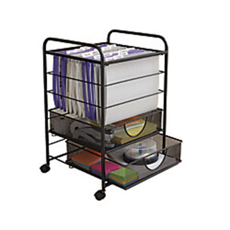 Rolling File Cart With Drawers by Neat Mesh Rolling File Cart With Drawers Black By