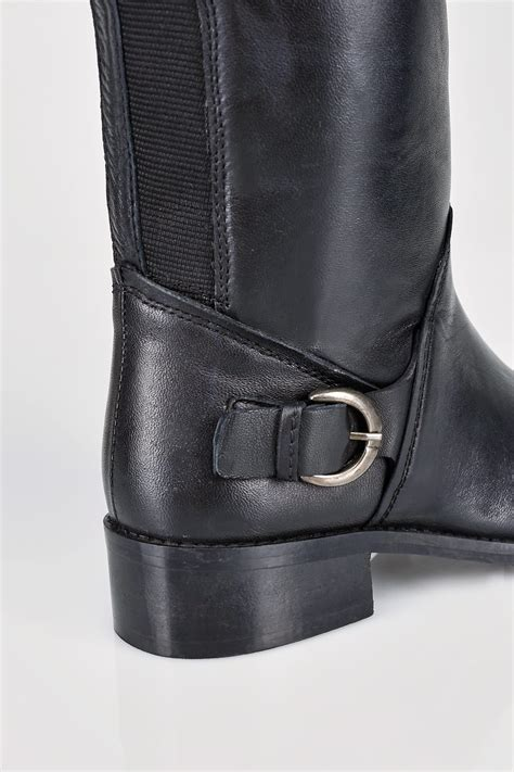 Buckle Gift Card Value - black leather knee high riding boots with buckle detail in eee fit