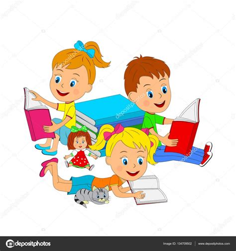 imagenes de niños jugando y leyendo ni 241 o y ni 241 as leyendo un libro vector de stock 169 iris828