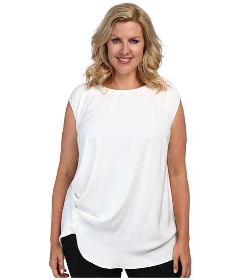 Plus Size Blouse dkny plus size cap sleeve side ruched blouse in white lyst