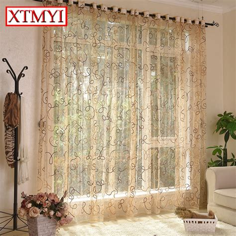 Brown Kitchen Curtains Aliexpress Buy European Style Brown Cafe Kitchen Curtains Treatments Tulle Cortina Door