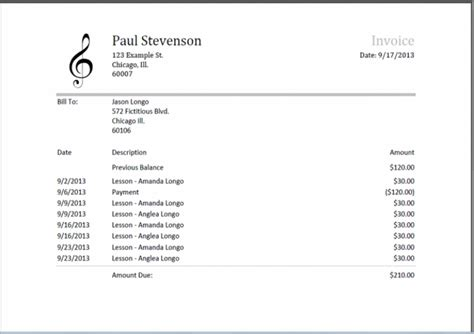 Musician Invoice Template Pdf