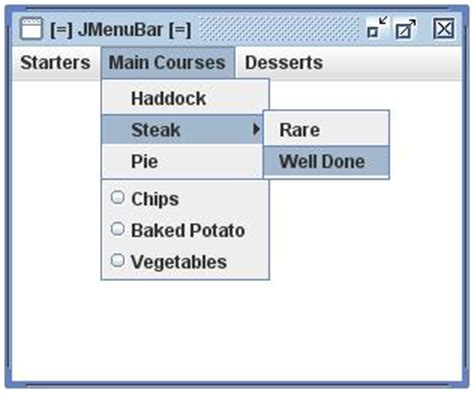 java swing menu bar the guidebook swing tutorials