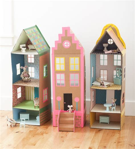 dollhouse diy cardboard brownstone dollhouses from playful mer mag comme des enfants