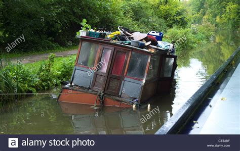 party boats for sale in ct sinking barge boat on a canal near bradford on avon stock