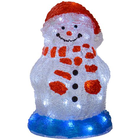 30cm acrylic light up snowman decoration l with white
