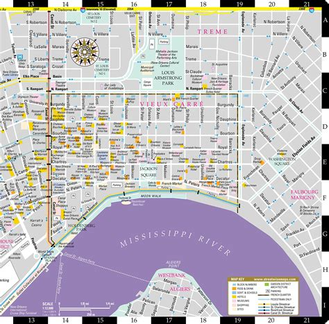 printable french quarter map maps update 13581036 new orleans tourist map map of