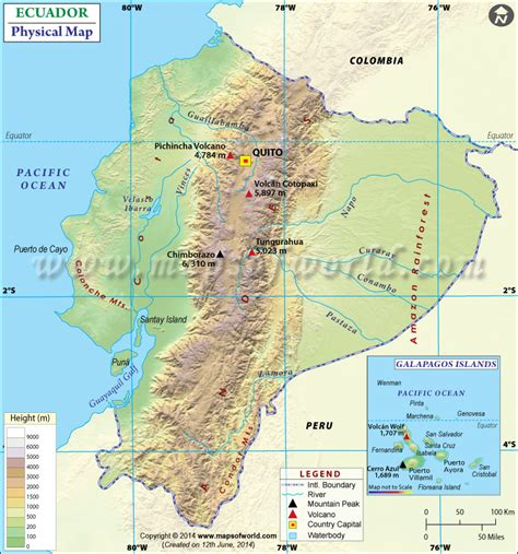 printable road map of ecuador ecuador physical map physical map of ecuador