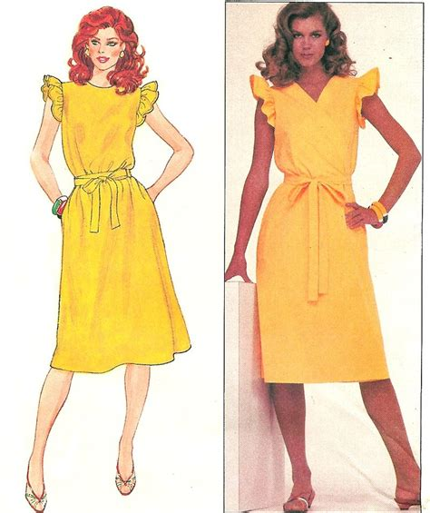 Bj 4387 Sling Dress Dress wrap dress sewing pattern sz 10 ruffle sleeve vintage disco mod below knee 4387