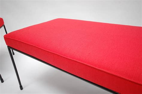 paul mccobb bench pair of paul mccobb benches in red linen at 1stdibs