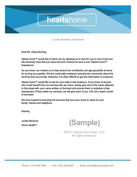 Client Referral Program Letter Sle Template Home Care Pulse Referral Email Template