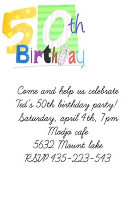 50th birthday invitation template free 50th birthday invitation templates free printable demplates