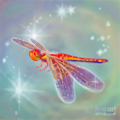 Metal Dragonfly Garden Art - glowing dragonfly digital art by audra d lemke