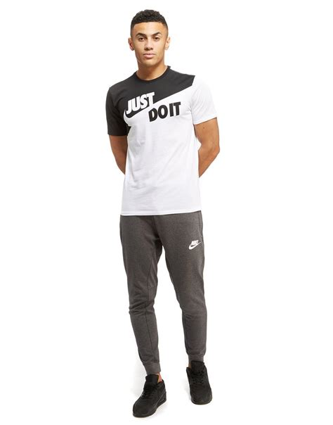 lyst nike just do it logo t shirt in black for