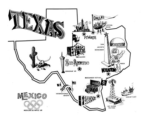 texas attractions map texas tourism map the portal to texas history