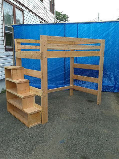 queen loft bed with stairs super heavy duty loft bed with stair case shelf queen size