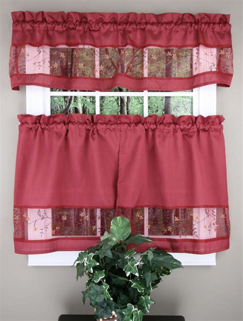 burgundy kitchen curtains fairfield valance tier curtains burgundy by achim