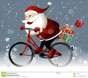 santa claus riding a bike stock vector image 44310263