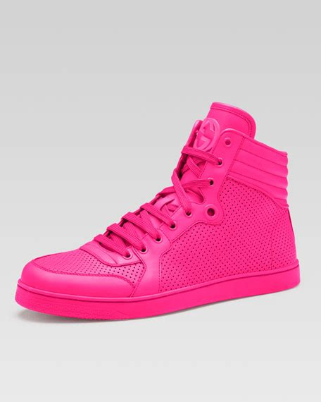 pink mens sneakers gucci coda neon leather high top sneaker pink