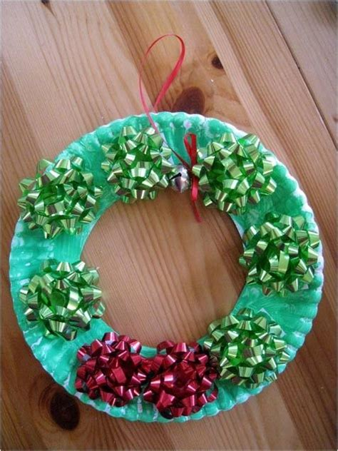 Paper Plate Wreath Crafts - paper plate and bow wreath craft with the