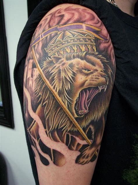 lion of judah tattoos roaring forearm