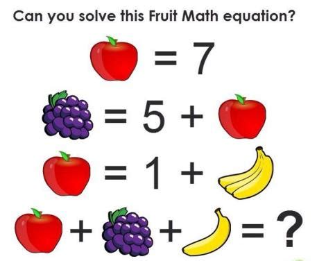 fruit questions can you solve this fruit math question