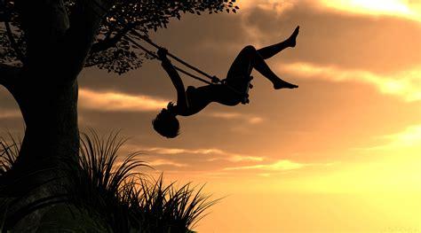 tumblr swing video rendering girl sunset sky tree swing mood wallpaper