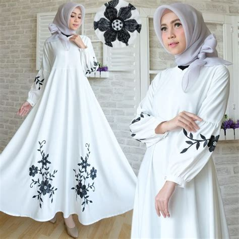 Baju Dress Bordir Putih baju maxi dress baloteli bordir gamis hitam putih polos