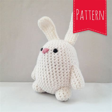 etsy plush pattern white rabbit crocheted plush portly pal bunny pdf pattern