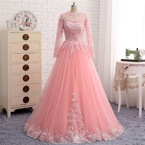 9865 New Luxy Pink Limited new evening dresses luxury o neck pink tulle appliques a line arabic evening gowns sleeve