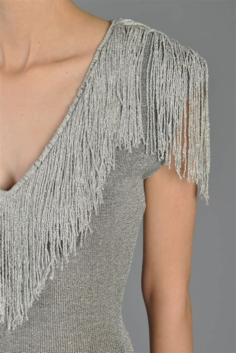knitting on the fringe metallic silver bodycon knit dress with fringe bustown