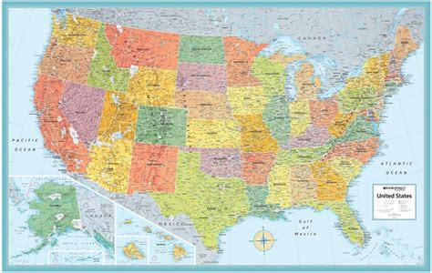 wall map rand mcnally style united states usa us large wall map poster ebay
