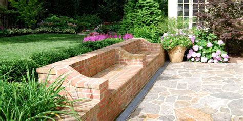 diy brick bench walls steps burke brothers landscape design build