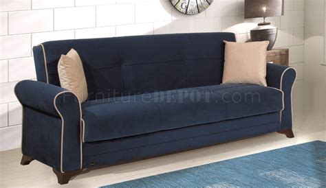Blue Microfiber Sofa by Irem Sofa Bed In Blue Microfiber By W Optional Items