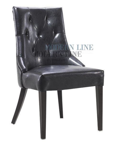 Modern Black Leather Dining Chairs Modern Line Furniture Commercial Furniture Custom Made Furniture Modern Tufted Black