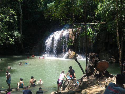 day   erawan waterfalls kanchanaburi thailand