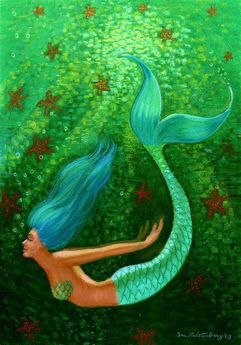 mermaid painting diving mermaid by sue halstenberg