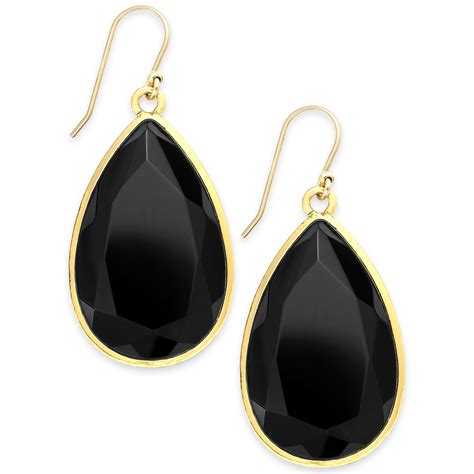 kate spade new york goldtone black teardrop earrings in