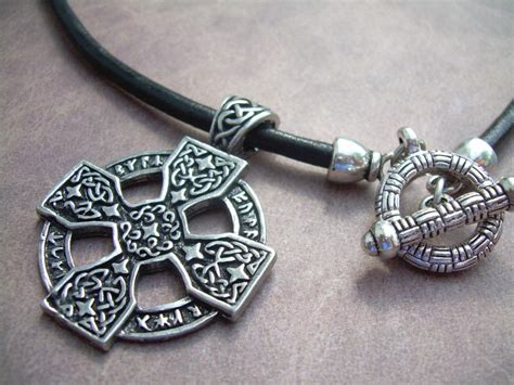 leather necklace celtic cross pendant mens necklace