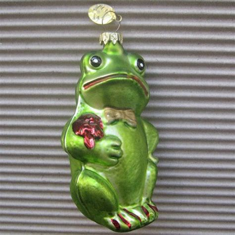 vintage christmas ornament green frog hand blown glass