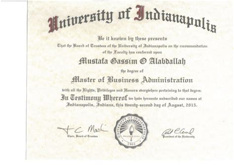 Master S Degree Mba On It by Mba Degree Certificate