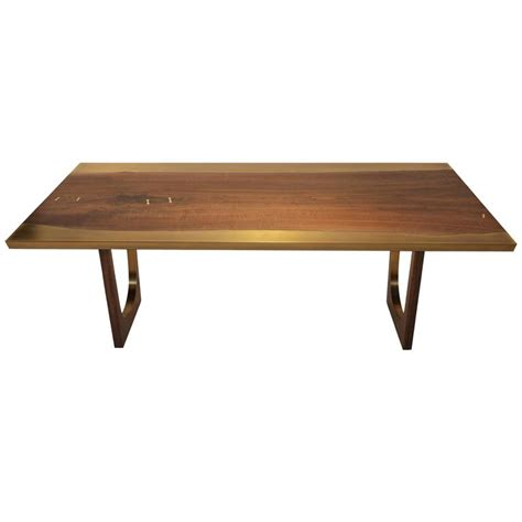 Resin Dining Tables Nola Dining Table With Walnut And Bronze Customizable Wood Metal And Resin For Sale At 1stdibs