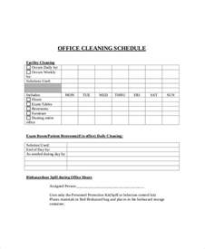 cleaning schedule template for office office cleaning schedule templates 7 free word pdf