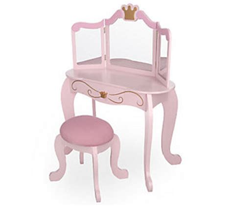 Kidkraft Vanity And Chair by Kidkraft Princess Vanity W Mirror And Fabric Covered Stool