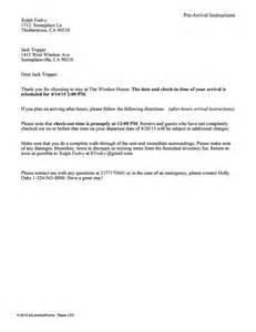 Certification Letter Rental vacation rental pre arrival instructions ez landlord forms