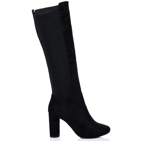knee high black heel boots torque black knee high boots from spylovebuy