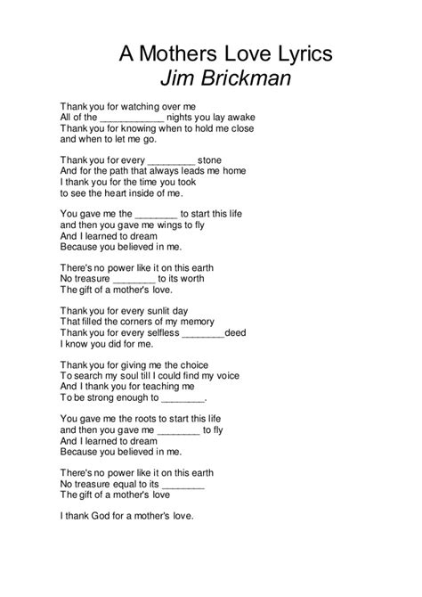 song jim brickman lyrics a mothers lyric missing